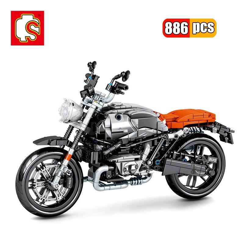 SEMBO 886Pcs Mechanical Latte Motorcycle Building Blocks City Technic Racing Motorbike  DIY Model Vehicles Bricks Toys For Kids